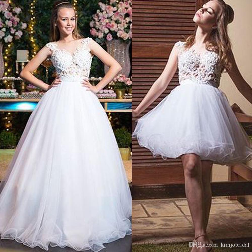 Ayrılabilir gelinlik 2020 sevgiliye boyun çizgisi dantel aplikler balo gelin elbiseler tül vestidos de noiva