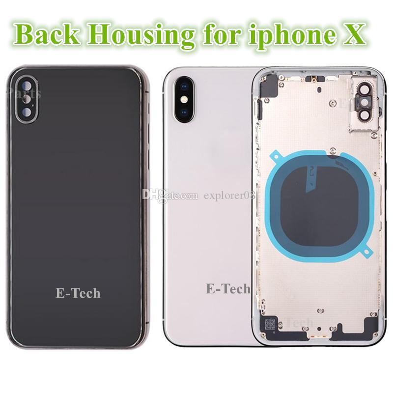 5 stücke für iphone 8 plus x zurück batteriefach glas voll gehäuse mittelrahmen panel abdeckung chassis seite tasten sim-fach ersatzteile