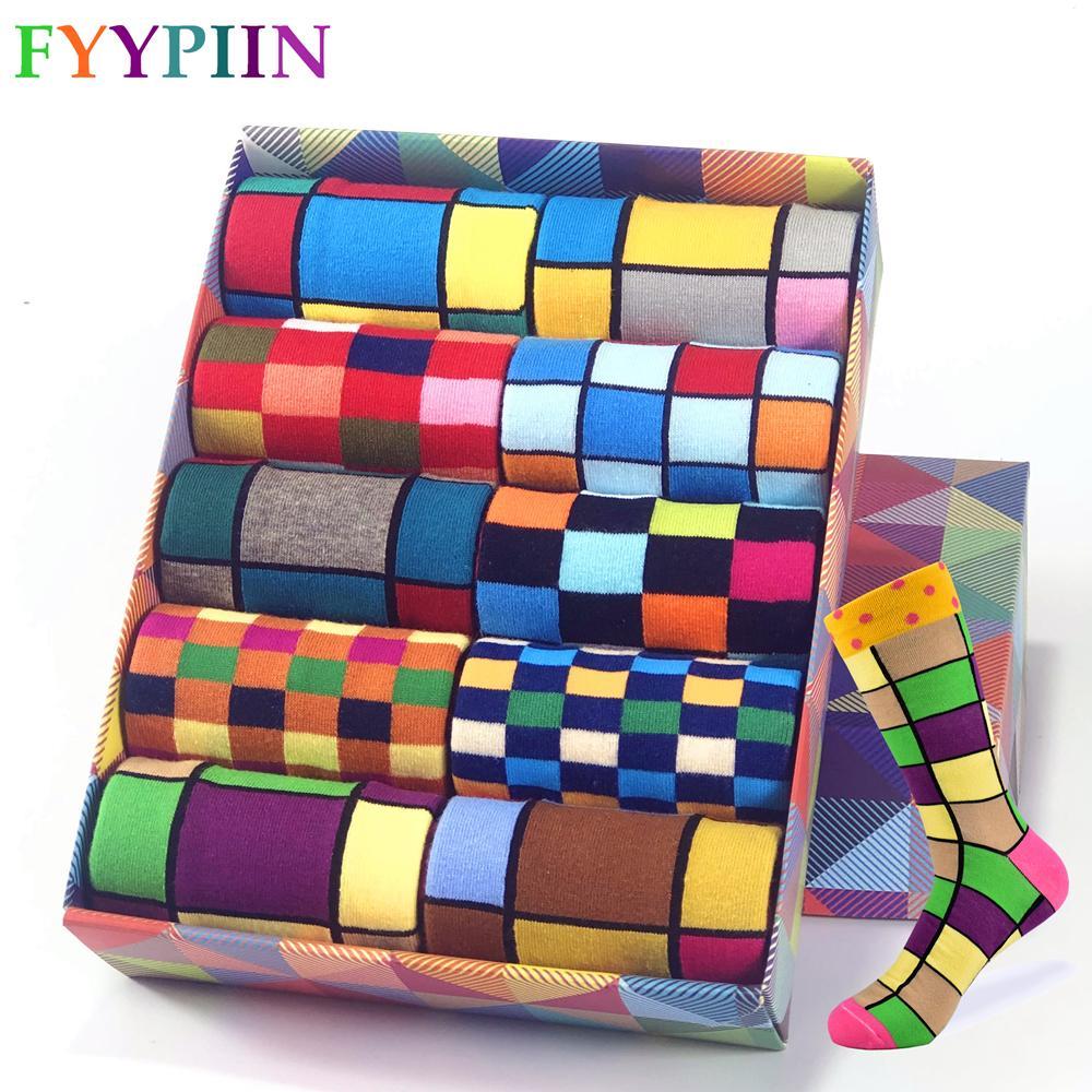 2019 new men socks colorful fashion design high quality combed cotton geometric lattice stripes men business casual happy socks
