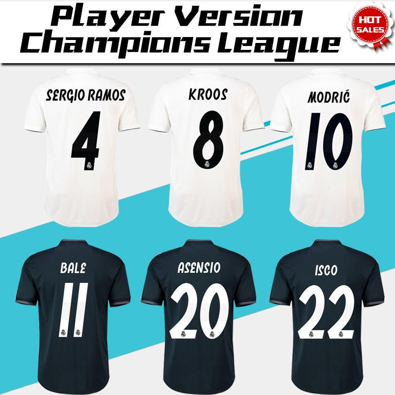 2019 Champions League Player Version Soccer Jersey 18/19 Real Madrid Home Soccer shirt #7 RONALDO #8 KROOS #22 ISCO Football uniform
