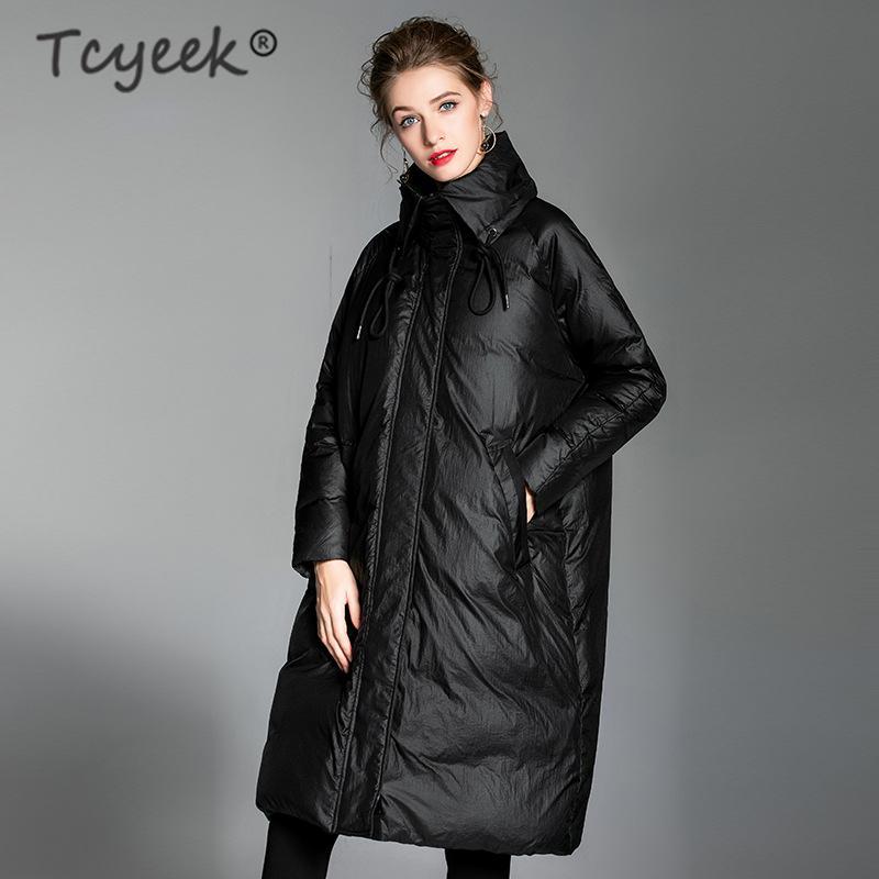 Piumino cappotto inverno delle donne Chaquetas Mujer 2019 coreano lungo allentato bianco anatra giù del rivestimento elegante signore cappotti 20186002LW722