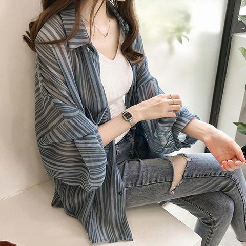 الصيف واقية من الشمس قميص المرأة طويلة جديد الكورية سوبر خرافية أسلوب الأجانب الجليد الحرير الشيفون سترة جنية رقيقة قميص معطف