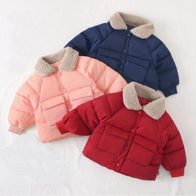 2019 Autumn Winter Baby Toddler Girl Clothes Warm Thick Parka Fleece Turndown Collar Girls Jacket Outdoor Coat T191026