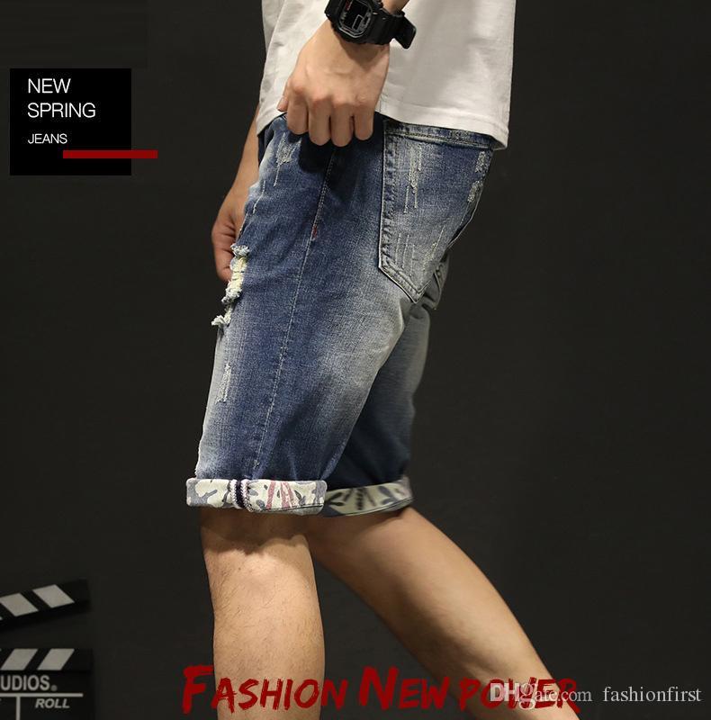 2019 mens wear summer new shorts fashion trend ripped denim trousers high quality retail wholesale denim jean shorts