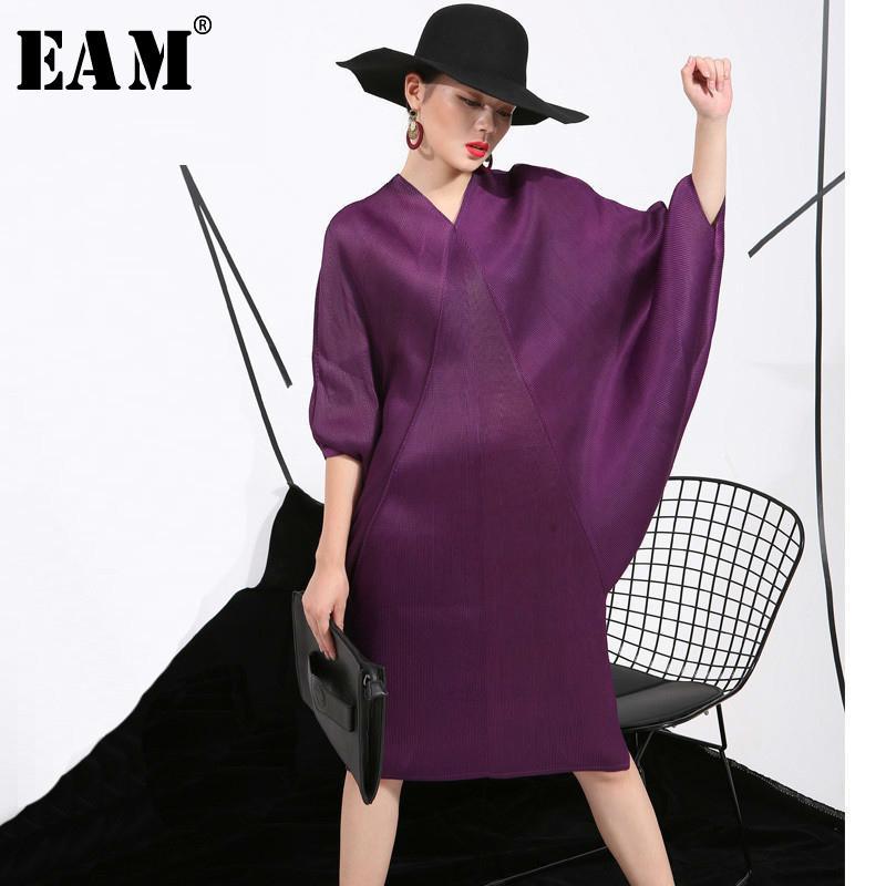 [eam] 2019 Frühling Trendy New Crimp Fledermaus Ärmel Design Große Größe Lose Große Größe Einfarbig Kleid Frauen Mode Fu11191 Y19052803