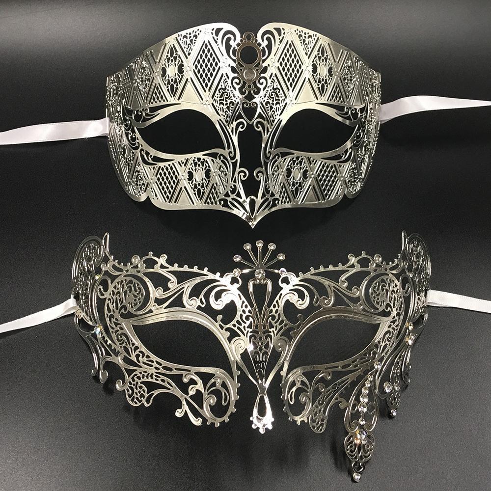 Silver Metal Filigree Men Women Venetian Masquerade Ball Masks Lovers Gold Mardi Gras Shows Ball Wedding Couple Party Mask Set Y200103