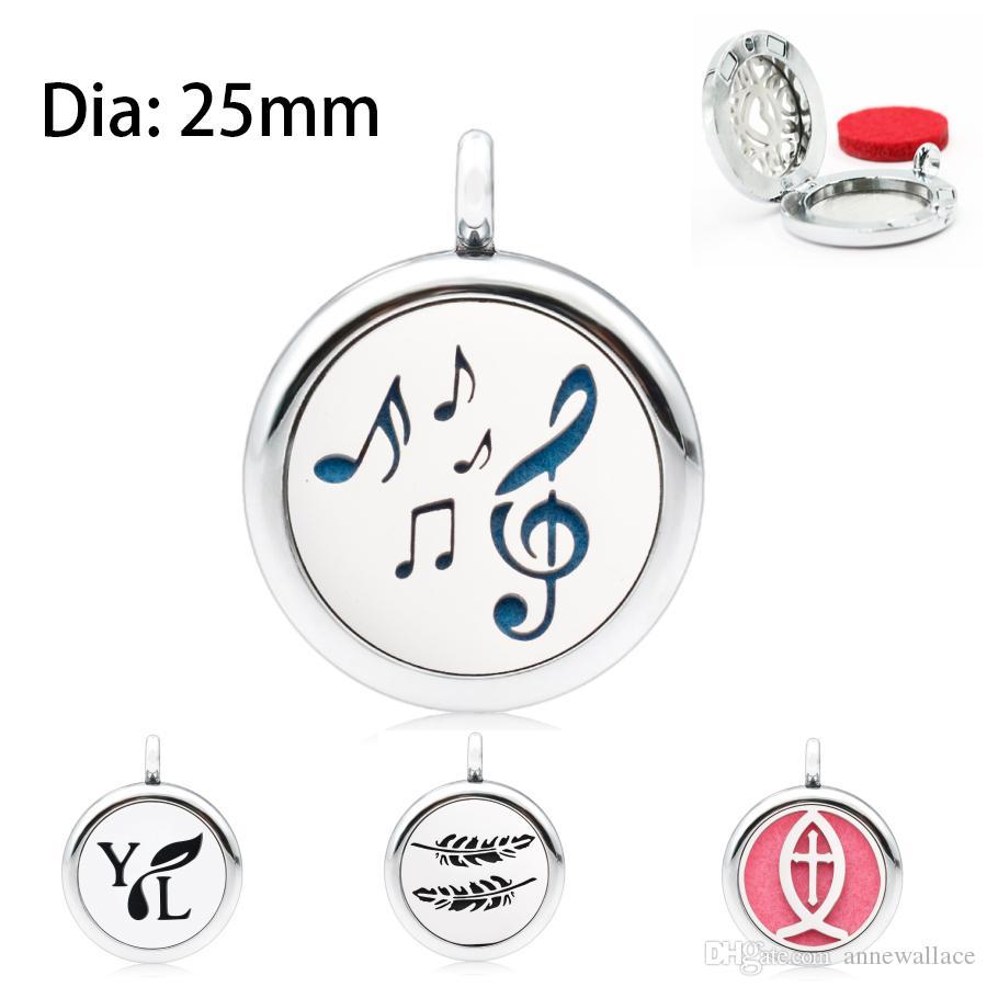 nota de la música YL 25mm Aromatherapy Locket Perfume Difusor esencial Locket colgante como regalo un cojín