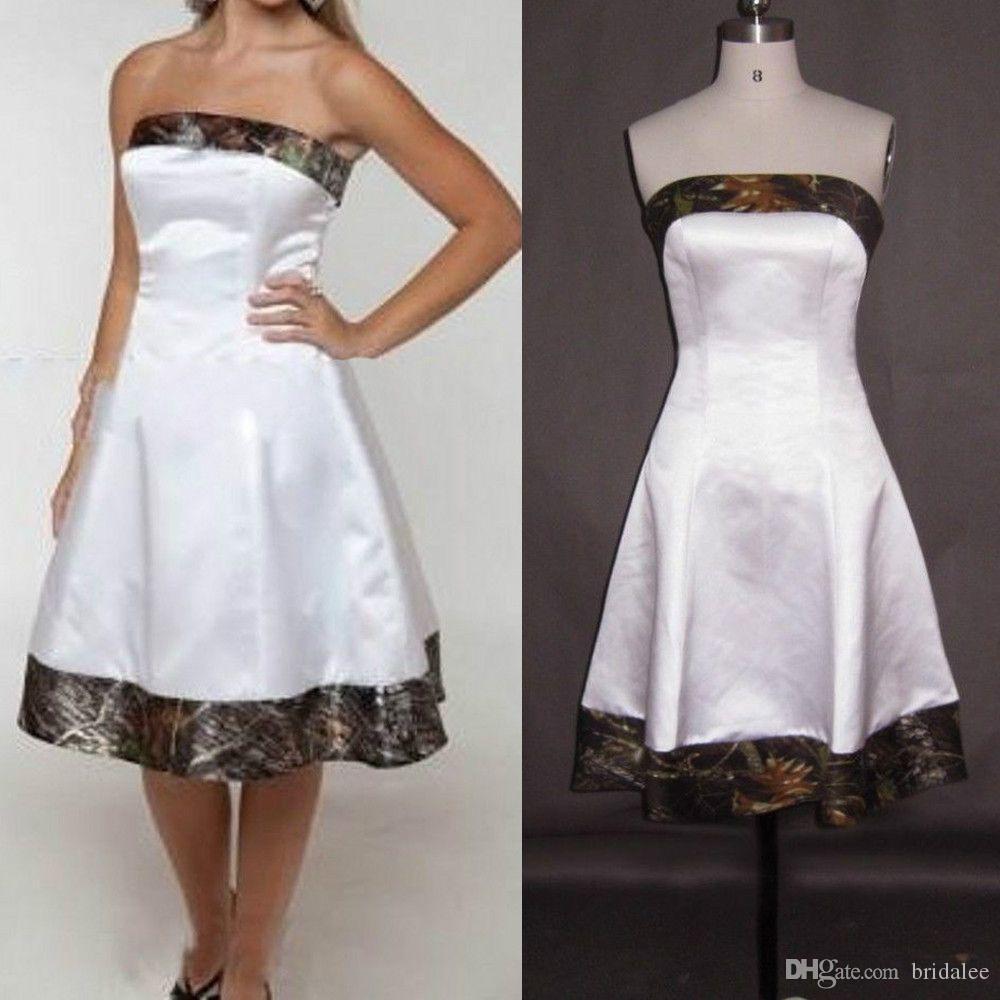 Paese Camo Abito da sposa Abito da sposa Realtree senza spalline Ginocchio Breve Breve Simple Simple Bride Dress Cheap Plus Size Australia Boho Gown