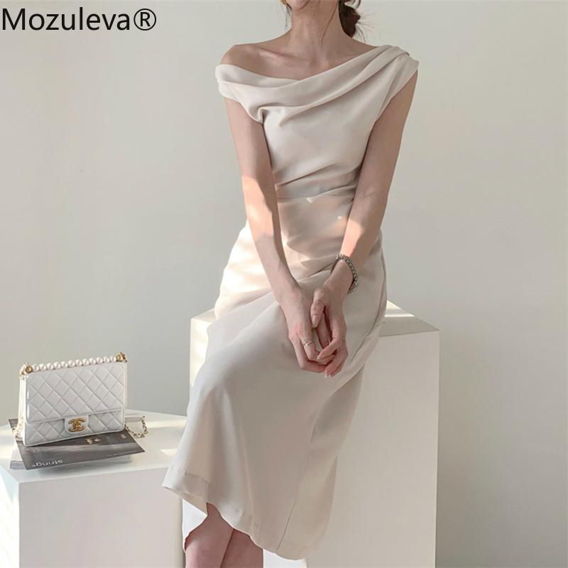 Zu 2020 Elegante Slash-Ausschnitt Frauen-Sommer-Kleid-Weinlese dünne Taille Weiblich A-Linie Kleid Midi Partei Vestidos Femme