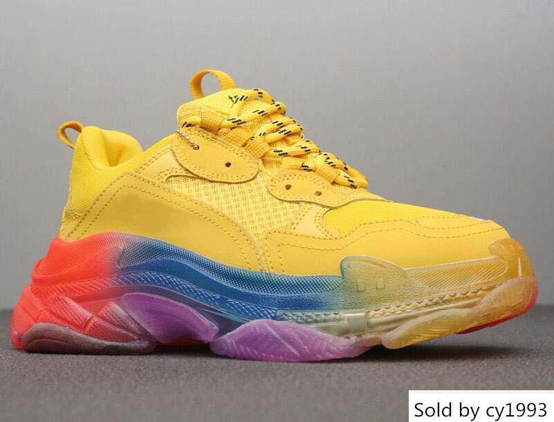 Paris 17FW Triple-S Sneaker pour hommes et femmes Chaussures bas de Rainbow Triple S Blanc Vert clair Sole design de luxe Formateurs H21