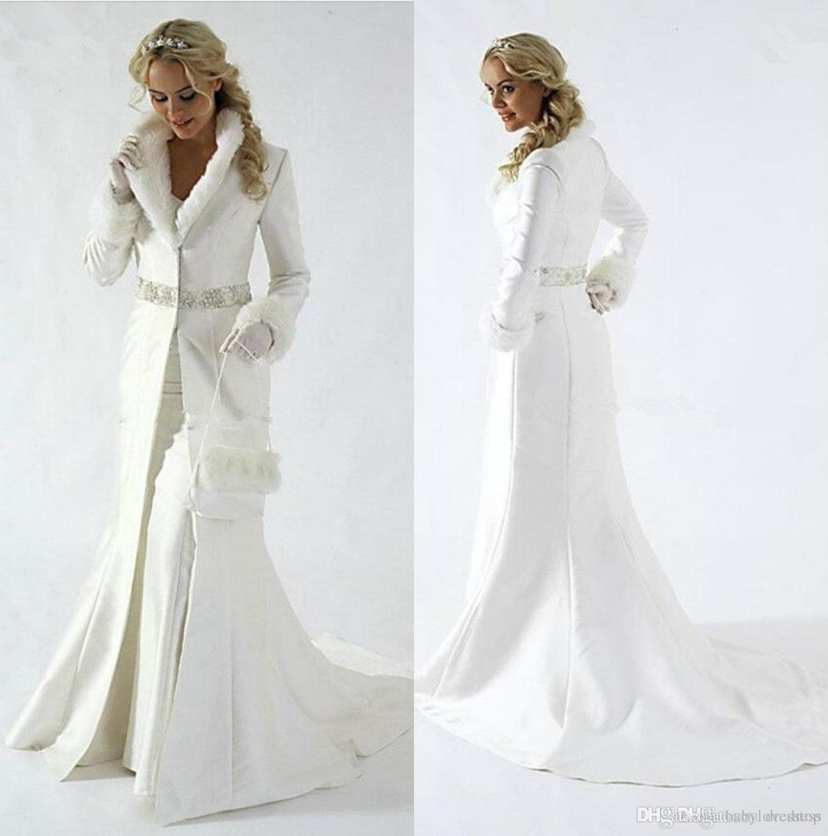 Elegant Fur Women Wedding Dresses Bridal Jacket Lapel Neck Bridal Wrap Long Sleeve Winter Coats for Wedding Bolero Coat Plus Size Capes