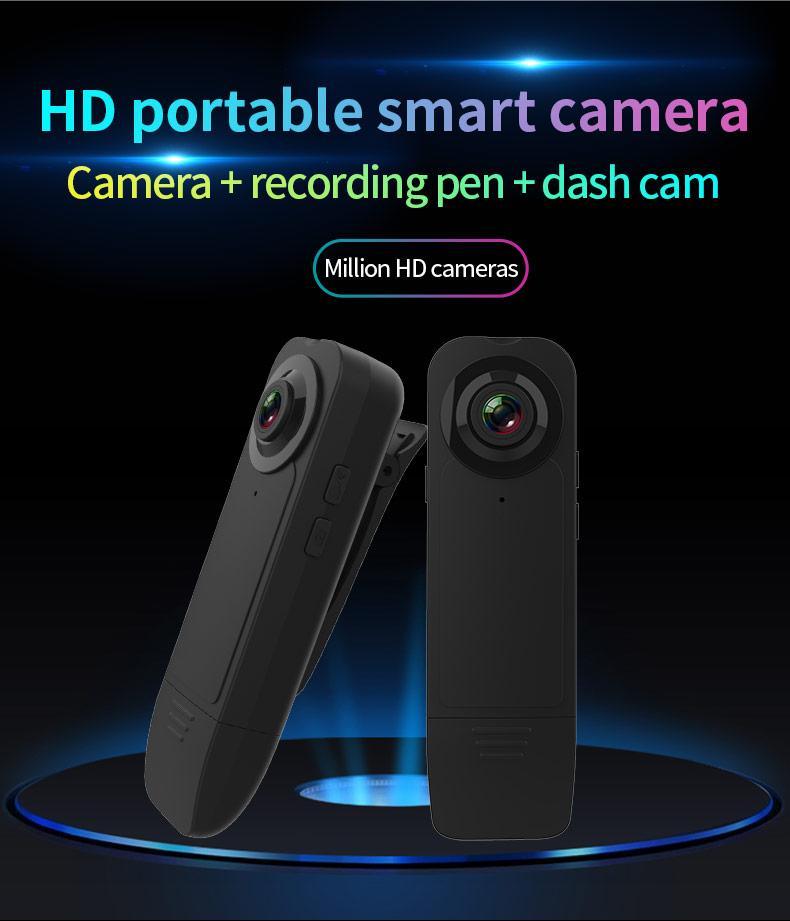 Full HD 1080P Night Vision mini DV camera wearable Mini Security Police Camera digital Video Recorder Mini Clip Body Camera black A18