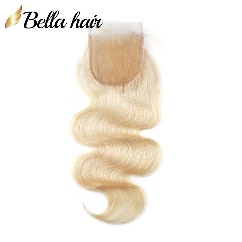 613 أشقر الأعلى الرباط موجة ملحقات الإغلاق الشعر العذراء البرازيلي إغلاق الجسم 4X4 5X5 100٪ الانسان الشعر الإغلاق مع الطفل Bellahair الشعر