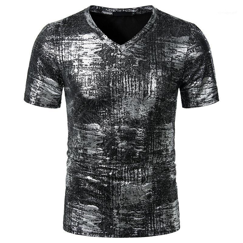 Camisetas para hombre Ropa para hombre de estampado en caliente Impreso diseñador de camisetas de manga corta con cuello en V camisetas casuales contraste de color de moda