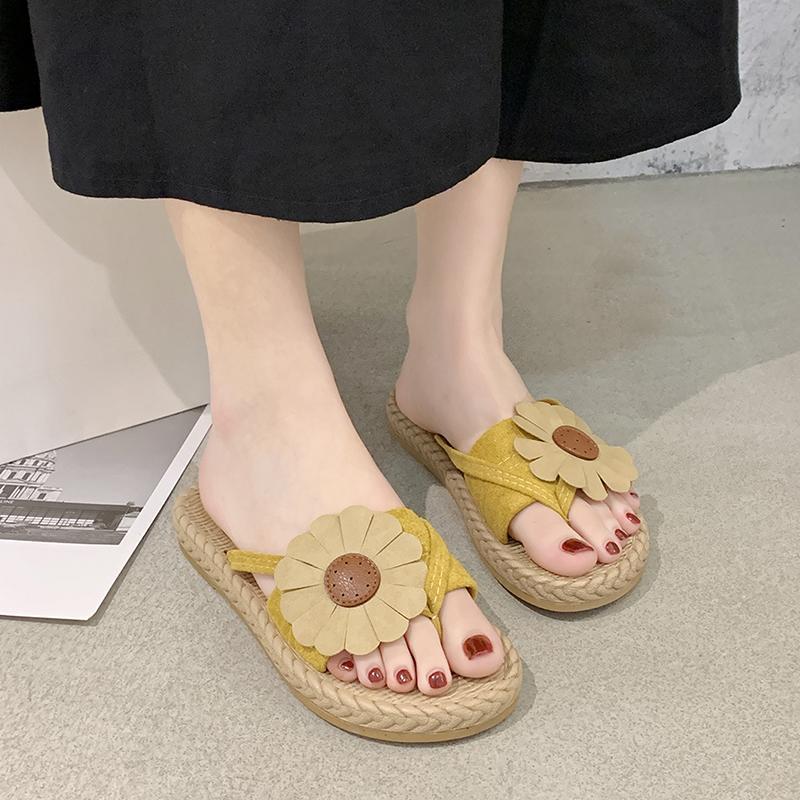 Мягкие толстые нижние нескользящие женские тапочки вьетнамки женские домашние тапочки Женская обувь летняя мода Пляжная обувь цветочные горки