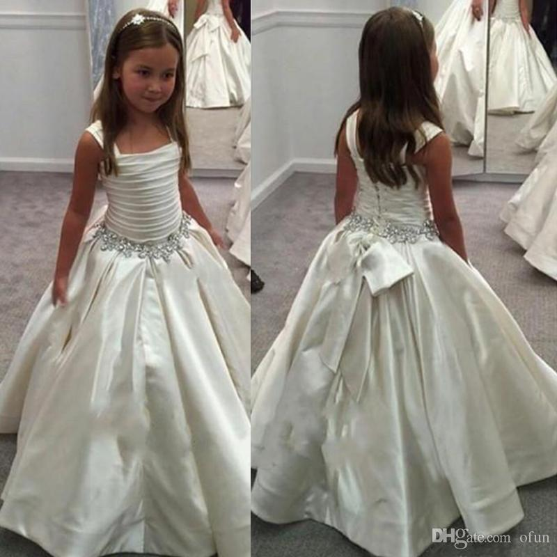 Simple Flower Grils Dresses Lace Up Beaded Ruffles Floor Length Girls Birthday Pageant Gowns First Communion Gown