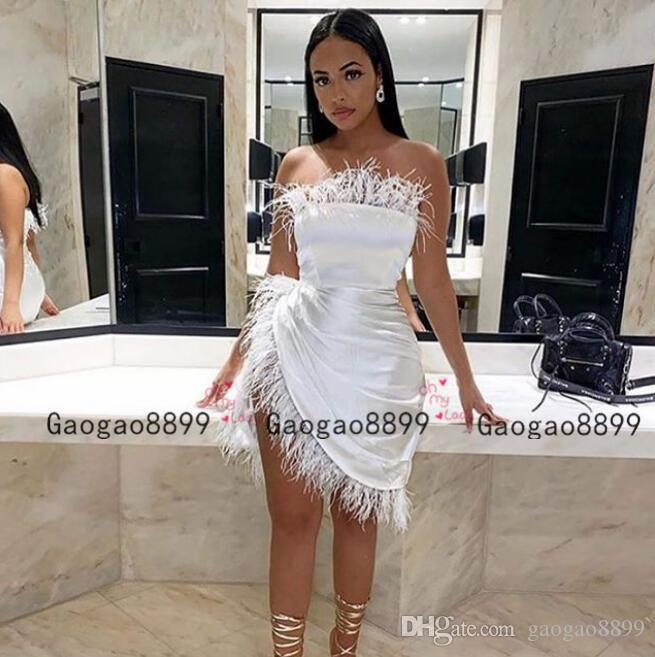 2020 sexy white short Prom Dresses With feather high slit Black Girls Formal Dresses Evening Wear Girls Pageant Gowns custom made