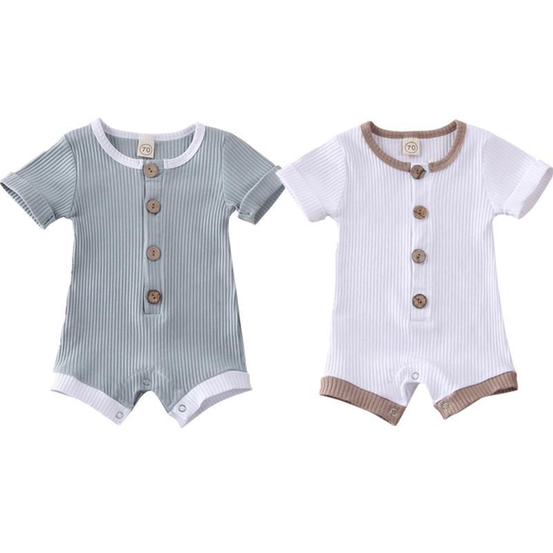 2020 Новых Горячие новорожденная Детские Мальчики Девочка Одежда ребристого Твердых Ромпер Комбинезон с коротким рукавом Летнего наряд 0-18M