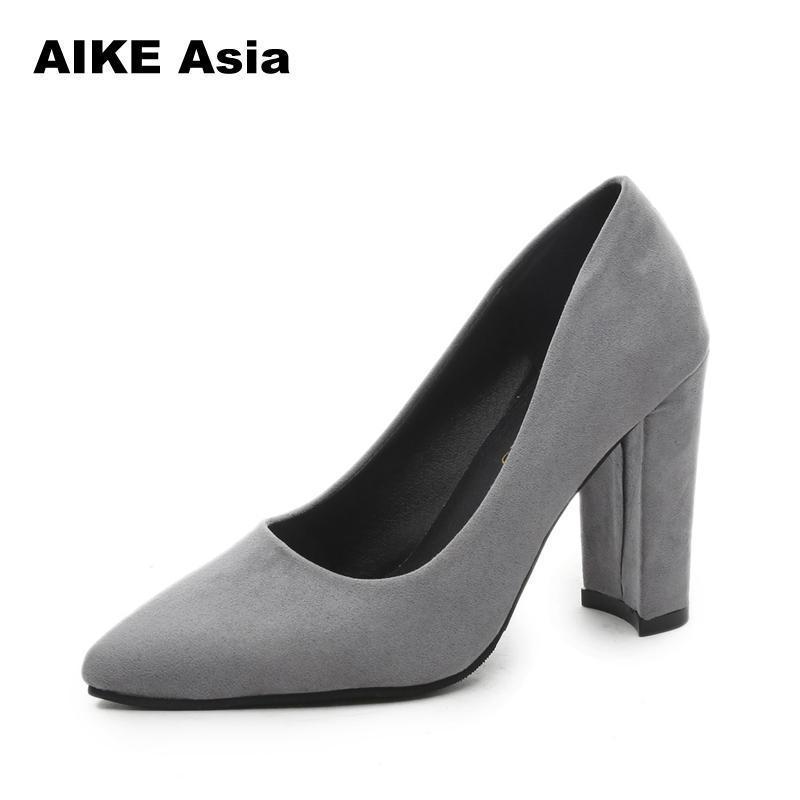 2019 Mulheres Bombas tira no tornozelo grosso das mulheres do salto Shoes Toe Praça Mid Salto vestido Trabalho Bombas Senhoras sapatos confortáveis sandálias Y200323