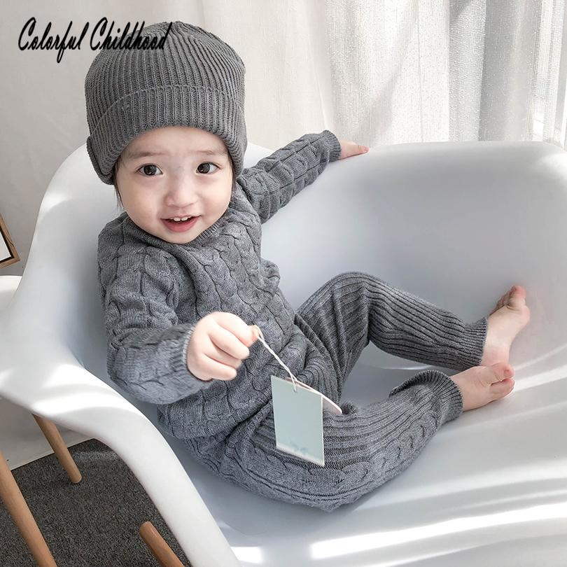 Infant newborn baby clothing set autumn winter cotton knitting long sleeve pullovers+pants suit kids outfits children sweaterMX190916