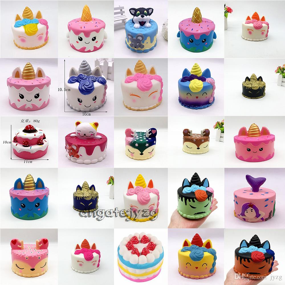 squishy Netter rosa Kuchen spielt 11CM bunte Karikatur-Kuchen-Endstück-Kuchen-Kinderspaß-Geschenk Squishy langsam steigende Kawaii Squishies