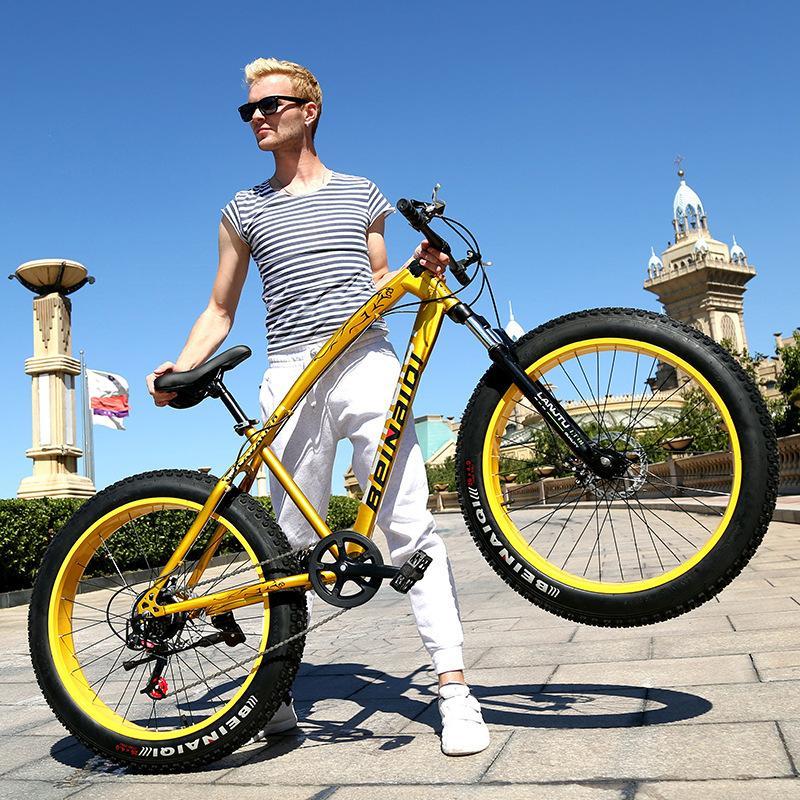 26 polegadas 24 velocidades bicicleta adulta pneu gordo montanha neve praia bicicleta