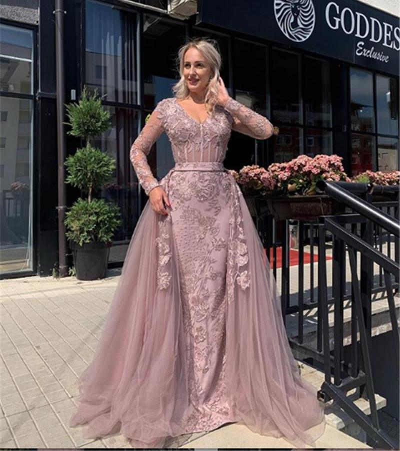 Elegant Applique Lace Evening Dresse V-neck Long Sleeves Mermaid Prom Dress with Detachable Overskirt Party Gowns Vestidos De Festa
