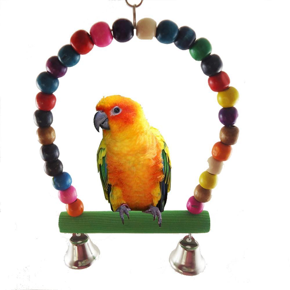 Pet Bird Parrot Parakeet Budgie Cockatiel Cage Hammock Swing Toys Hanging Toy D