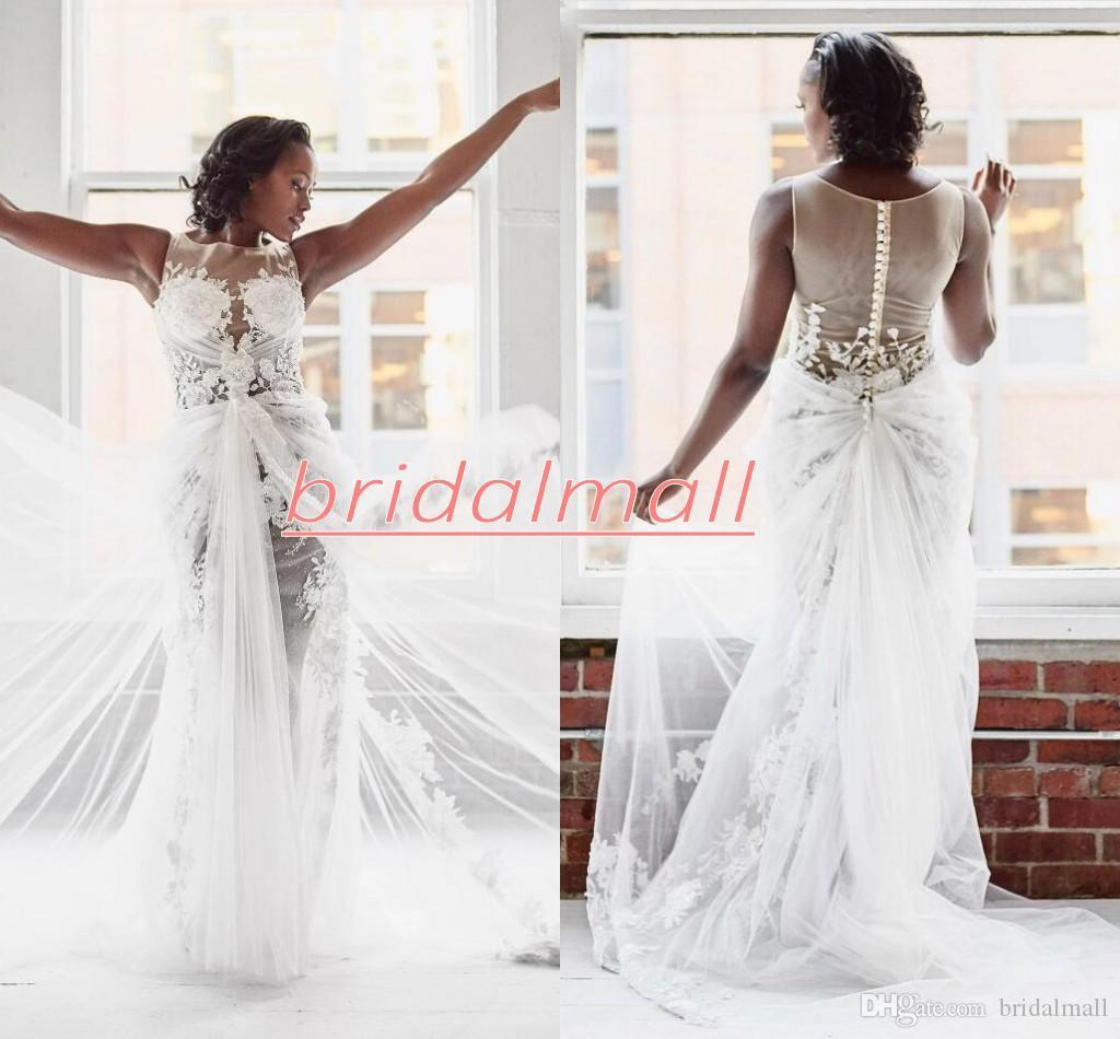 Plus la taille Appliqued Tulle Robes De Mariée Sirène Illusion Corsage 3D-Floral Robe De Mariée Sheer Boutons Retour Robes De Mariée Vestidos De Novia