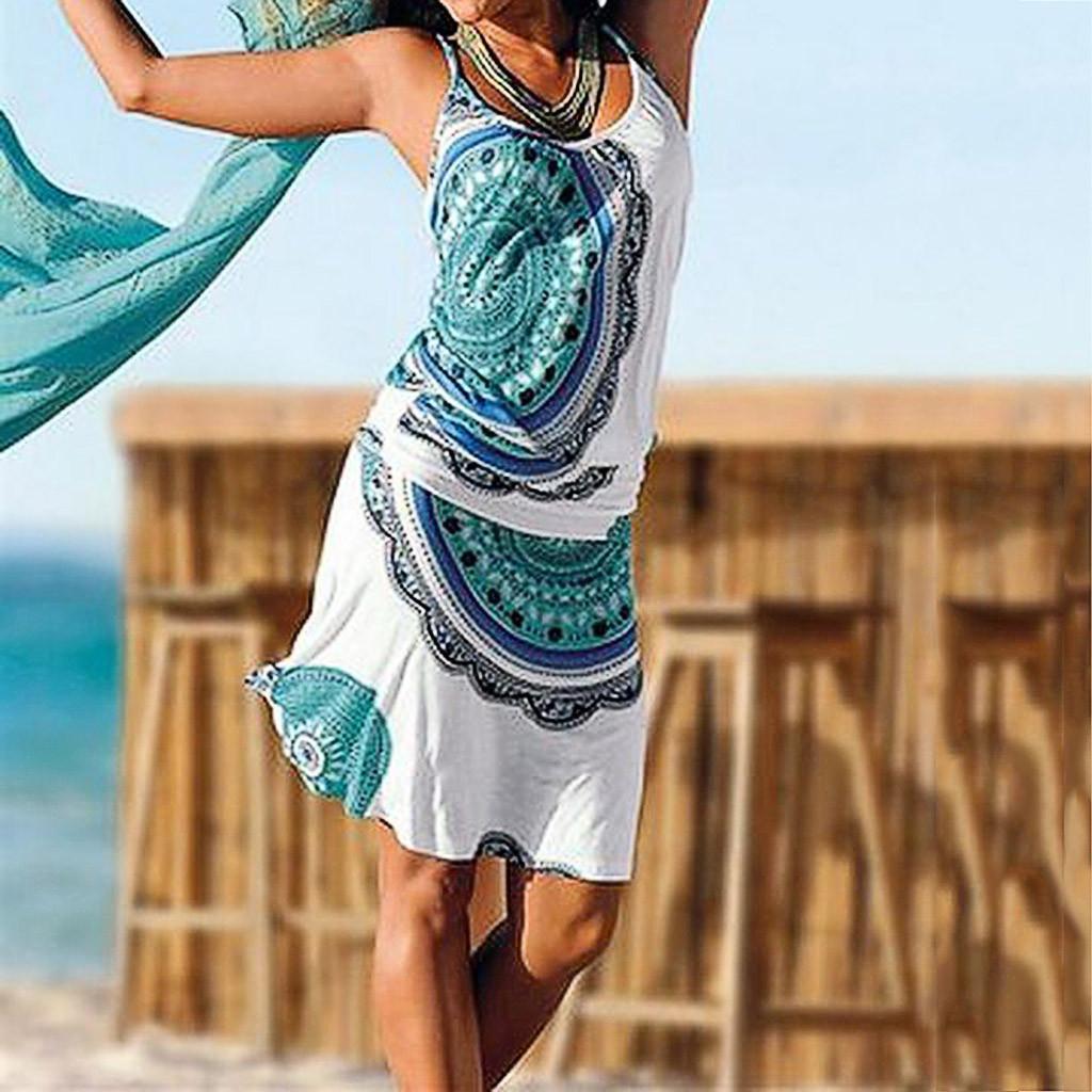 2019 vestido de la playa de Nueva ocasional de las mujeres impreso Bohemia Partido maxi sin mangas cubierta vestito playa spiaggia bata hasta plage jurk hebra