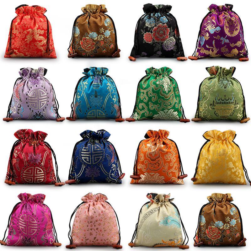 Роскошные цветочные Большие подарочные пакеты свадьба Фавор сумки китайского шелка Brocade Рождество Мешочек High End кулиской чехол для хранения 50шт / много