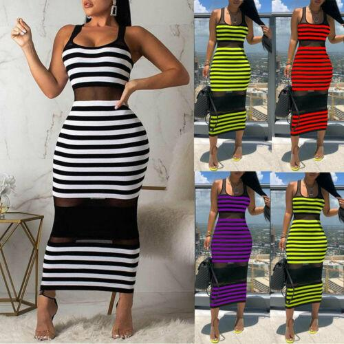 Sexy Stripe Beach Vestido sin mangas para mujer Vestido delgado ver a través de Bodycon Evening Party Club Rayed Maxi VDVDG