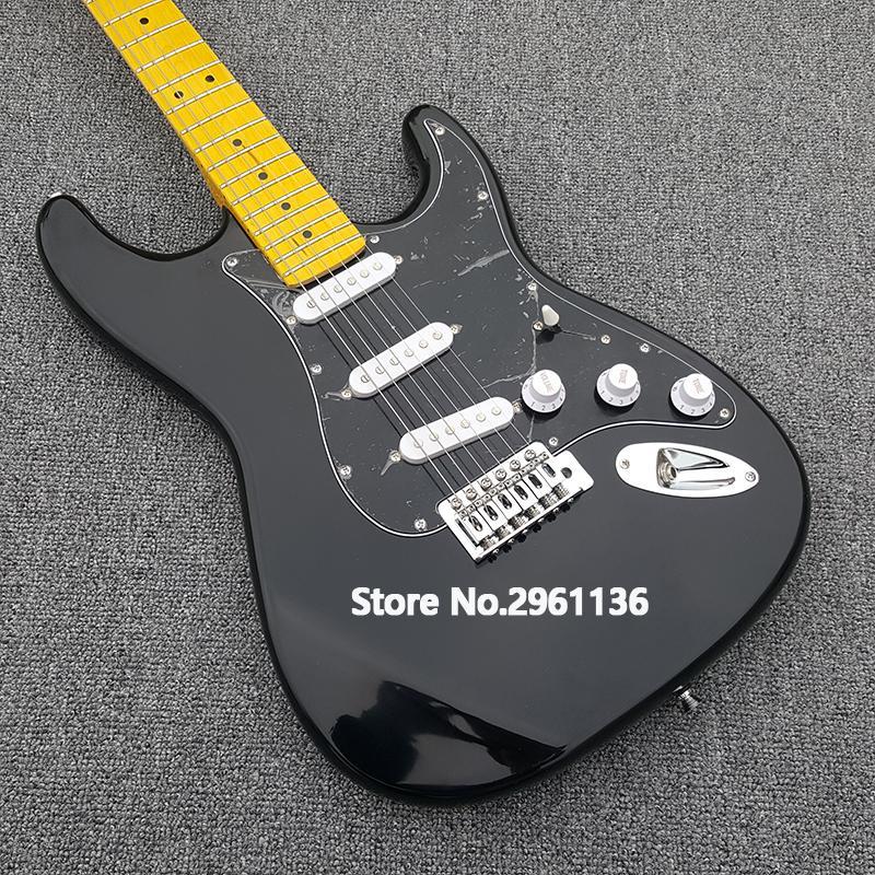 guitarra elétrica 2019 de alta qualidade, corpo Basswood e braço de maple, com tinta preta, personalizado s-t guitarra elétrica, transporte livre