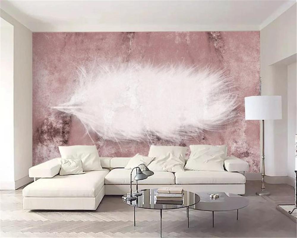 3D 배경 화면 젠틀 화이트 깃털 레트로 핑크 배경 벽 HD 디지털 인쇄 수분 벽 종이