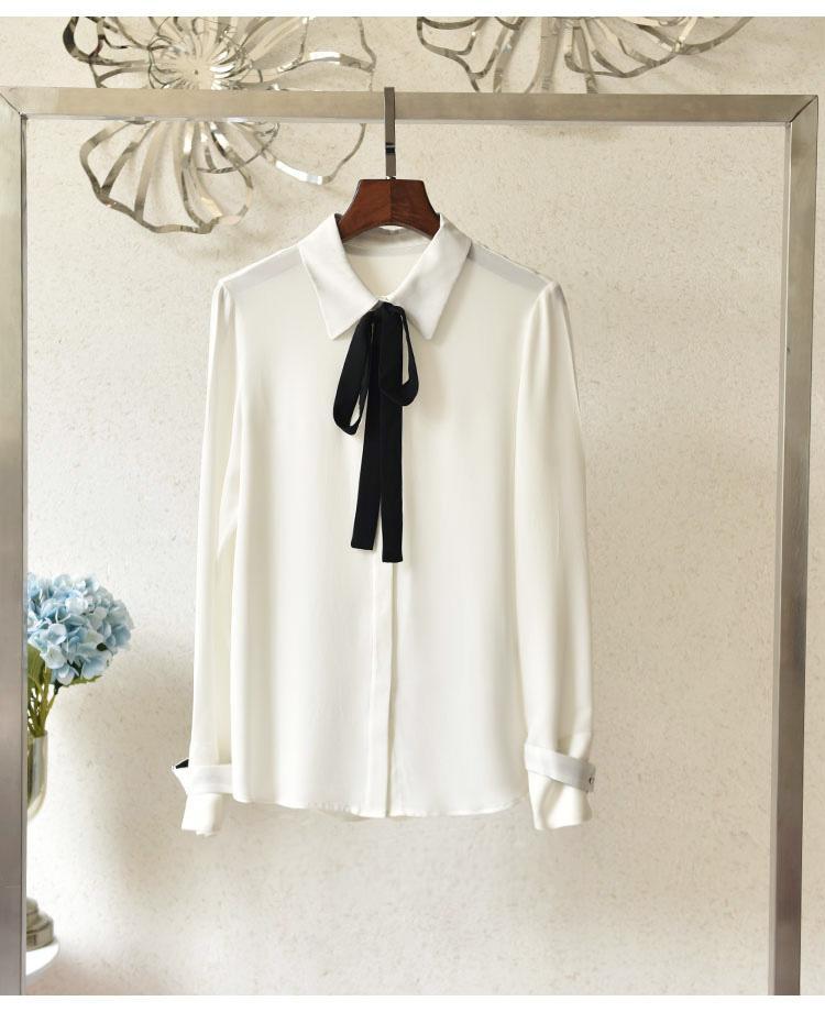 2020 de primavera y verano de manga larga solapa de cuello rosa contraste de color 100% seda de la cinta pajarita botones de un solo pecho de la blusa de Camisas ZM201556