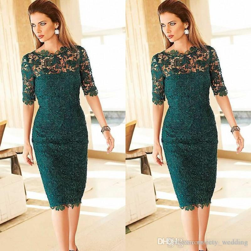 Gorgeous Lace Mother of the Bride Groom Dresses Sheath Column Tea Length Emerald Green Half Sleeves Cocktail Party Gowns Custom Made