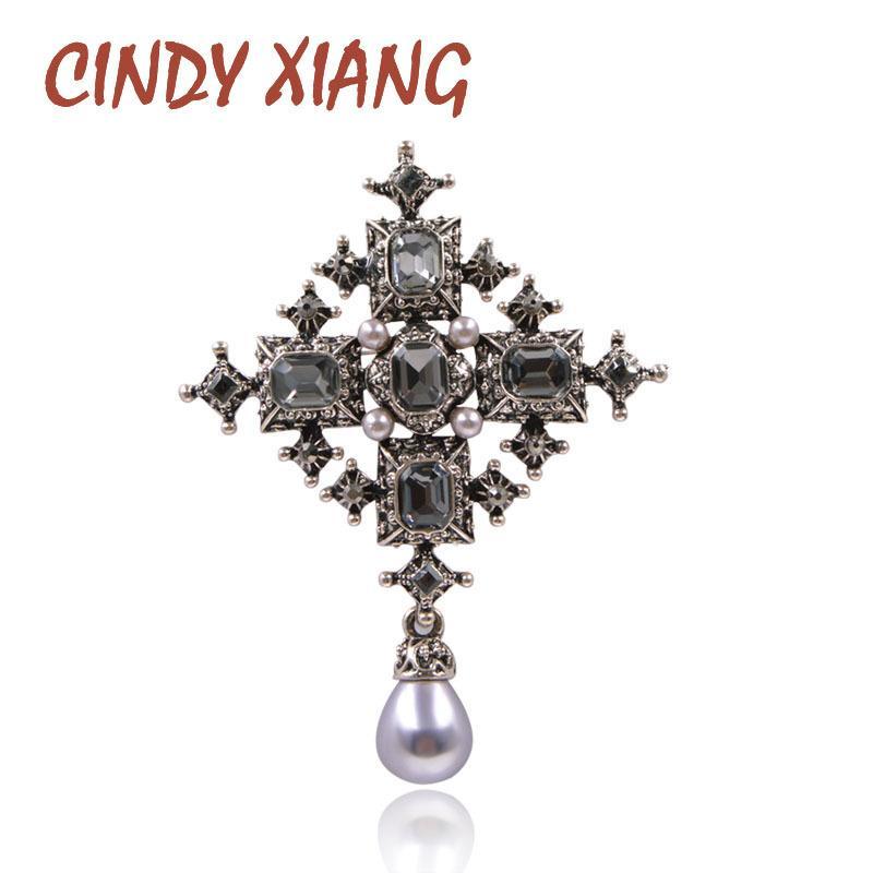 Cindy Xiang nuovo cristallo croce spille unisex donne e uomini moda vintage grandi pin colore nero design fresco stile barocco T190622