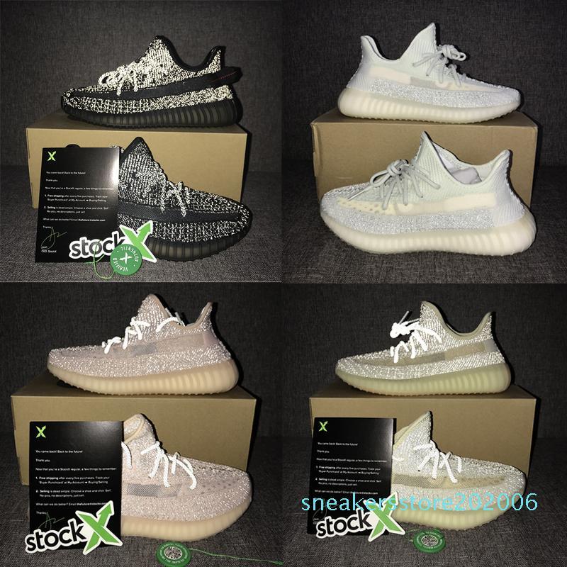 Lundmark reflektierende Kanye West Schuhe der Frauen GID grüne Herren und Damen Designer-Freizeitschuhe V2 s06