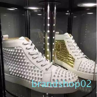 2018 novos homens Shoes A parte inferior vermelha sapatos de casamento de luxo partido Sneakers, couro genuíno Louisfalt Spikes Lace-up Casual Shoes Branco transporte livre 8