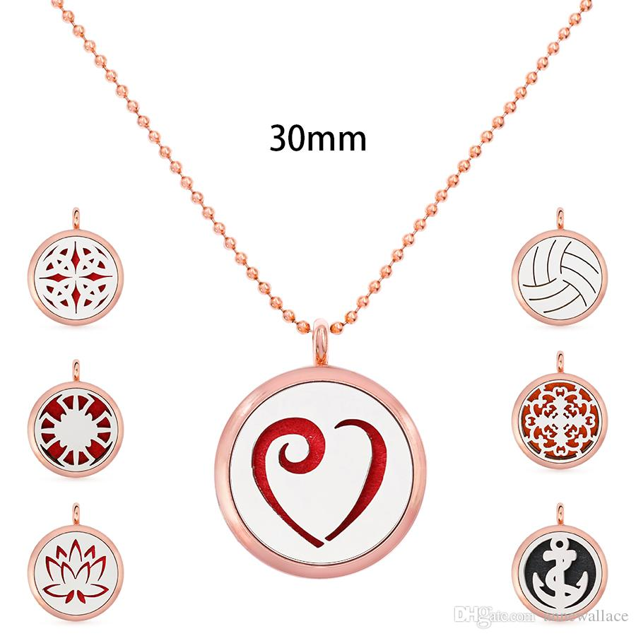 Multiples options 30mm lotus magnetic rose gold Aromatherapy perfume essential oil Diffuser Locket necklace (5 Felt Pads randomly)