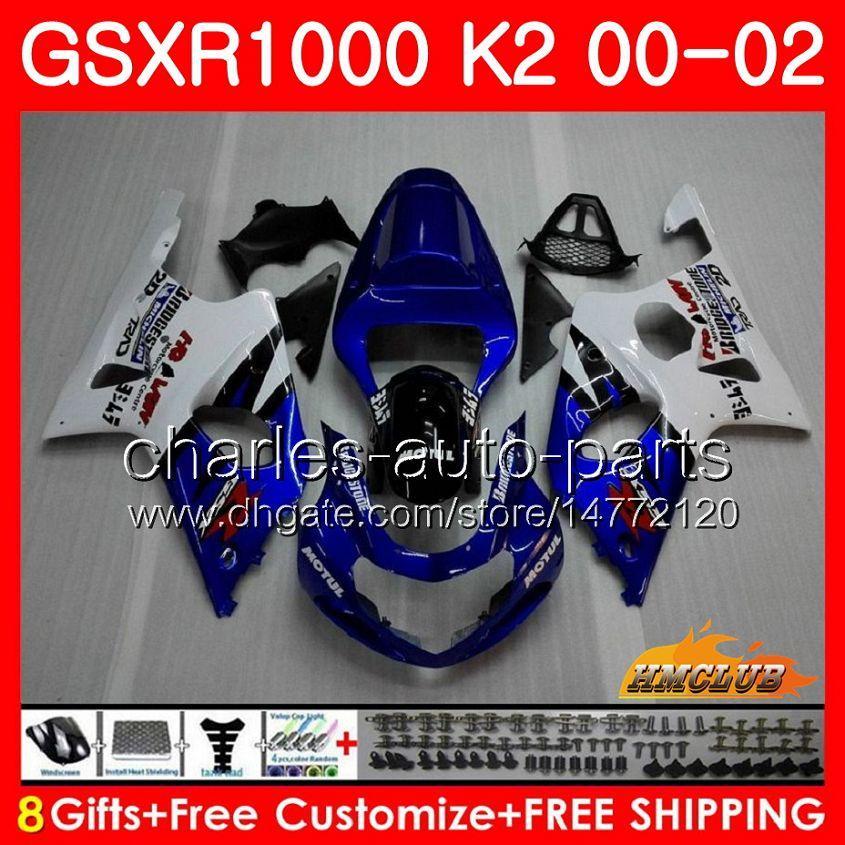Quadro para Suzuki GSX-R1000 GSXR1000 Stock Azul Novo K2 GSX R1000 00 02 Bodys Kit 14HC.10 GSXR-1000 GSXR 1000 00 01 02 2000 2001 2002