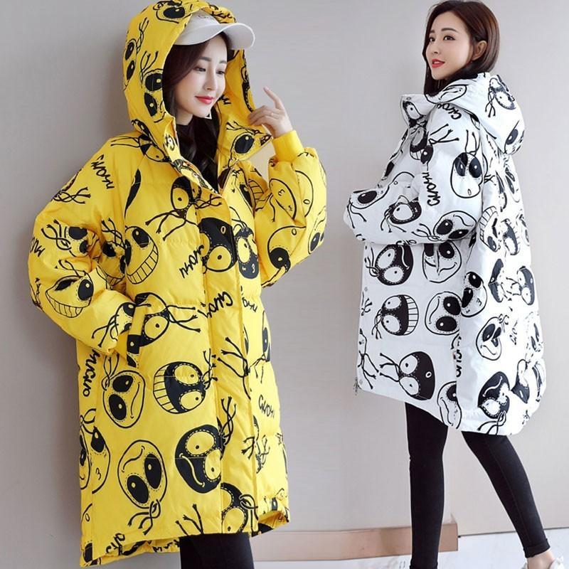 Hiver Cartoon capuche Long Down Jacket Femme 2019 Nouveau mignon Mode Lumière et manteau de plumes de canard blanc mince Femmes Taille Plus HJ130