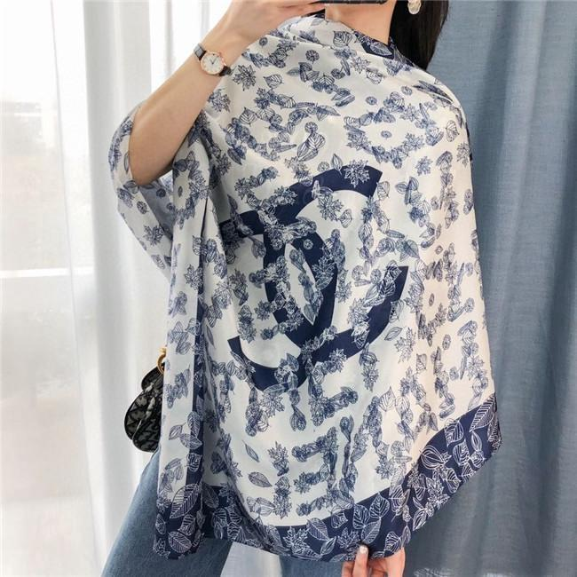 New Top Quality Ice Silk Chiffon Scarf Mulheres Macio Four Seasons Lenços de luxo Printing Designer Retro longo de seda xale Atacado