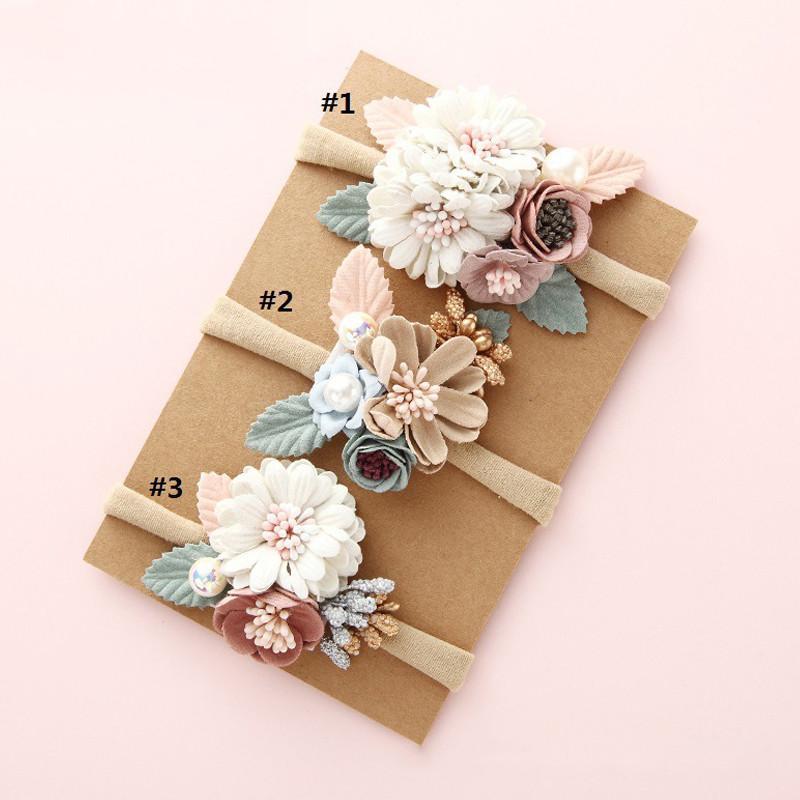 Estilo fresco Moda Florals Headband bebê recém-nascido Elastic Princesa Hairbands Criança Crianças Pérola Presentes Headwear bonito