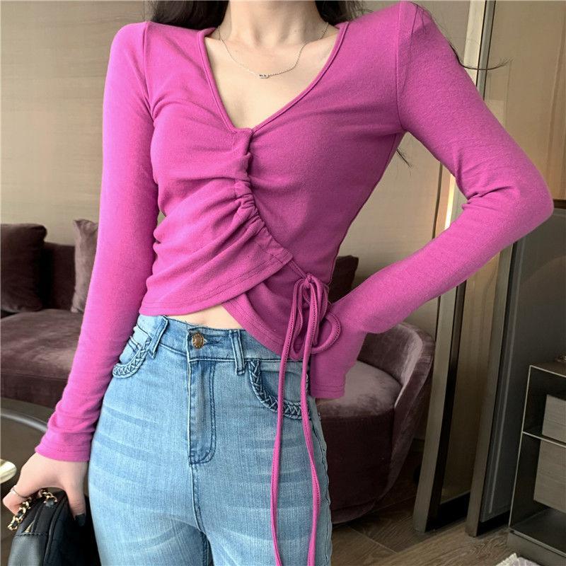 Kadınlar İlkbahar Yaz Tarzı Seksi T-Shirt Tops Lady Casual Ince V Yaka Wrap Uzun Kollu Seksi Tees TSHITS Süper Kısa