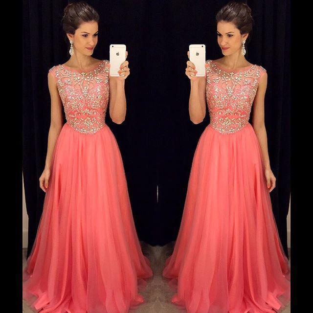 Compre Pink 2018 Prom Dresses Crystal Beading Formal Vestidos Largos De Graduación 2019 Con Una Línea Joya Cuello Gorro Mangas Zip Volver Vestidos De