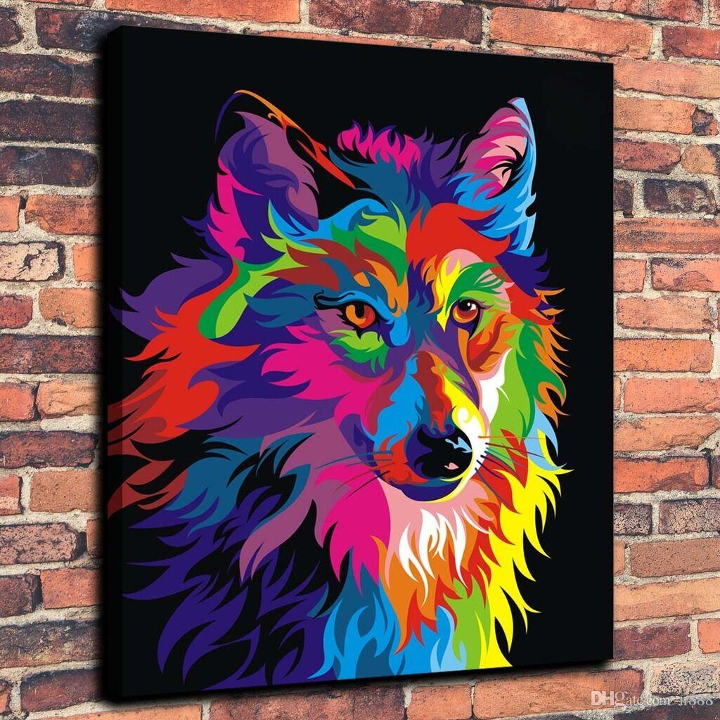 Wahyu Romdhoni Colorful Wolf Home Decor Handcrafts /HD Print Oil Painting On Canvas Wall Art Canvas Pictures 19
