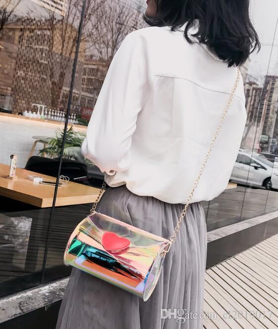 Сумка Лето 2019 Мода Лазерная Корейский Прозрачный Новый Сумка Bag Chylinder Crossbody ESXXW