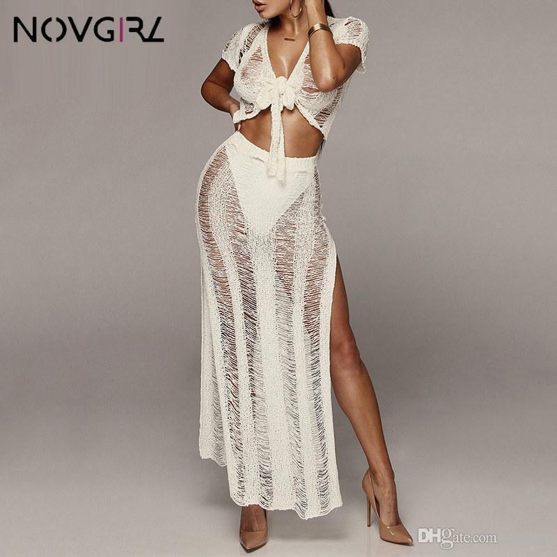 Sexy Beachwear Mulheres Crochet Two Piece Set oco Out Top Curto e Longo Skirt 2 Piece roupas de verão vestido de tricô