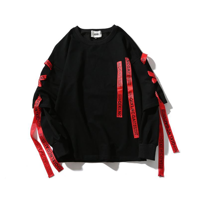 couple pull-over de mode pull hommes et les femmes ruban hip-hop faux deux T-shirt asiatique plus la taille version coréenne lâche à manches longues